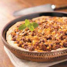 Venison Taco Pie Recipe. -I've used both shredded and cubed venison, for this (just don't like ground), and it turned out great! Top with sour cream, guacamole, sliced green onions, and salsa to make it extra YUM!