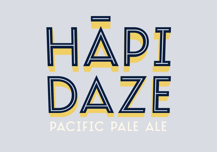 Beer Can / HĀPI DAZE ----- The beer logo type for Garage Project's Hapi Daze beer can. Please Repin, or click this link to see more images from this project > http://www.flyingwhities.com/327640/4349642/recent-work/beer-can-hapi-daze