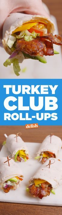 These low-carb Turkey Club Roll-Ups prove that no bread = no problem. Get the recipe from http://Delish.com.