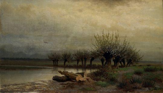 Каменев Лев Львович.  Весна. 1866 Холст, масло 33,8 x 58,9