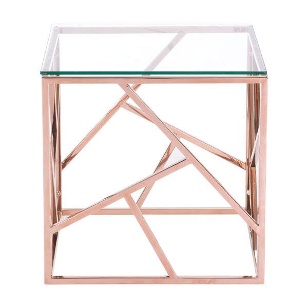 "The Rodham Side Table exhibits slim and sleek perfection with angled strip designs and finished with clear tempered glass top. The Rodham collection includes a coffee table. Dimensions: 19.7"" W x 19.7"
