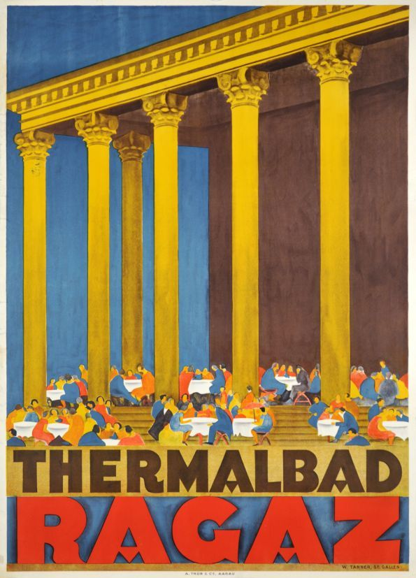 """""""Bad Ragaz"""" Spa, in the canton of St Gall. A rare poster by Willy Tanner 1928."""