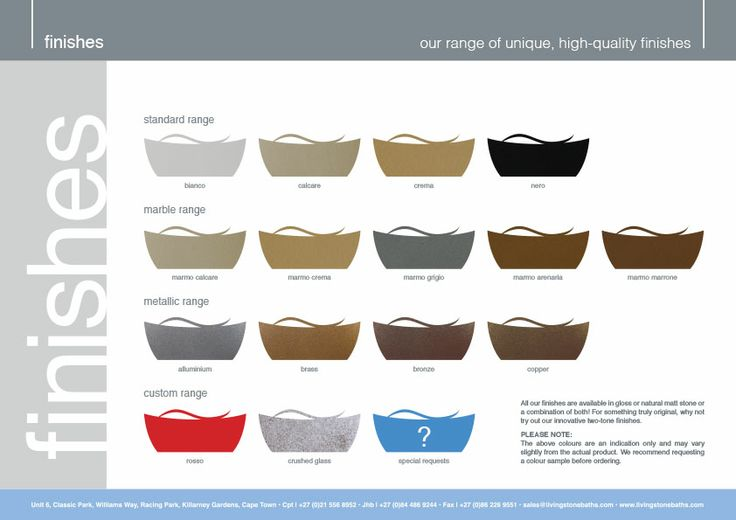 Our exciting range of finishes. www.livingstonebaths.com