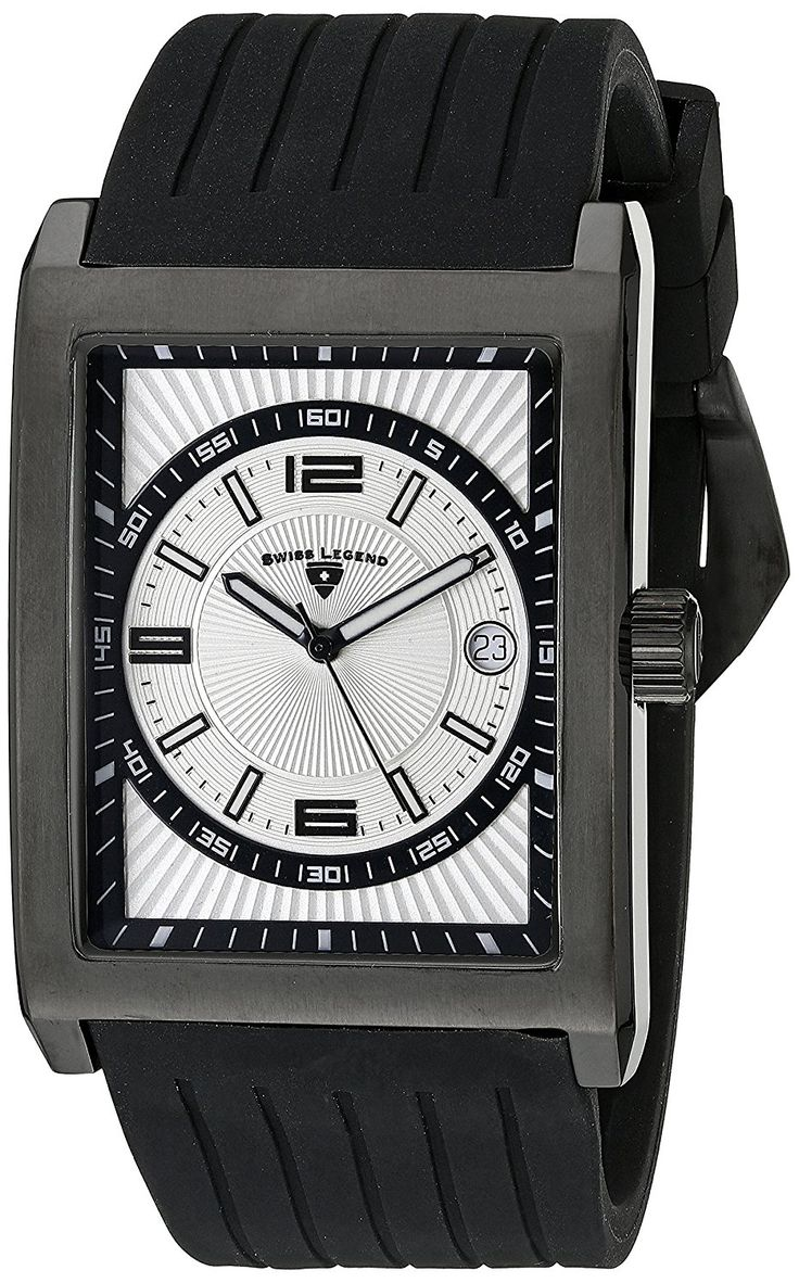 Swiss Legend Men's 40012-BB-02S Limousine Light Silver Textured Dial Black Silicone Watch >>> For more information, visit image link.