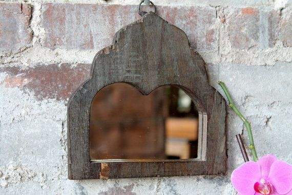 Mirror Reclaimed Vintage Indian Door Panel Wall Hanging Art Distressed Blue Gray…