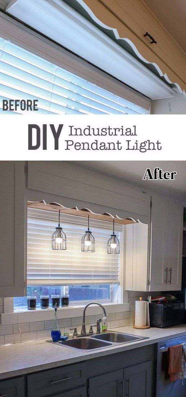 Diy Pendant Cage Light With A Wooden Box Kitchen Renovation Kitchen Remodel Kitchen Design