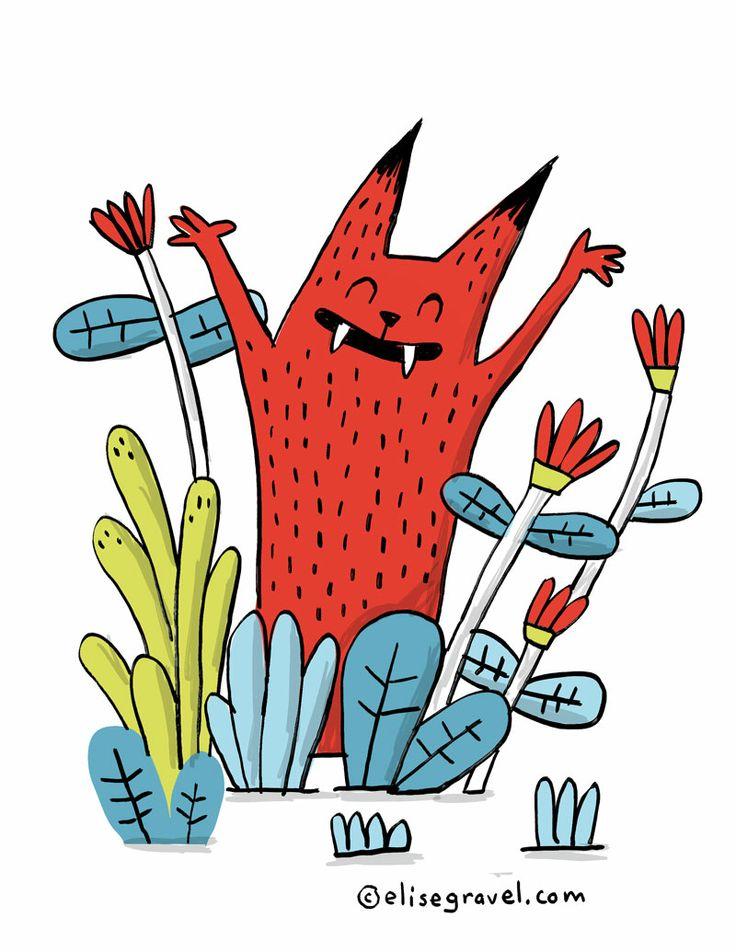 Spring! • Elise Gravel • monster • illustration • happy • flowers