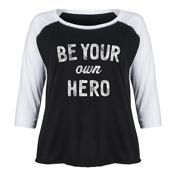 LC trendz Plus Black & White 'Be Your Own Hero' Raglan Tee (86 BRL) ❤ liked on Polyvore featuring plus size women's fashion, plus size clothing, plus size tops, plus size t-shirts, plus size, raglan tee, white and black t shirt, raglan t shirt, black and white t shirt and black white top
