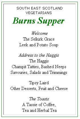 Burns supper menu
