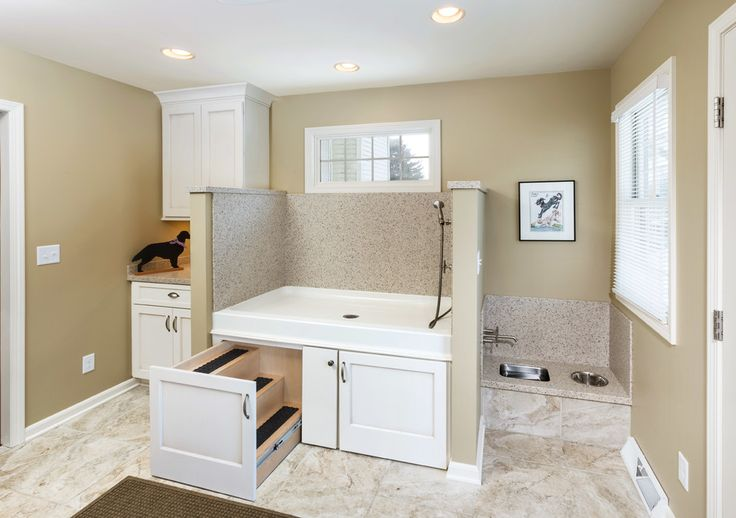 Chic doggie steps in Laundry Room Transitional with Outdoor Dog Washing Station next to Dog Wash Area alongside Dog Shower and Dog Wash Station
