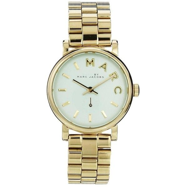 Marc By Marc Jacobs Baker Mini Gold & Mint Watch (475 BAM) ❤ liked on Polyvore featuring jewelry, watches, accessories, bracelets, nike, mint green watches, leather-strap watches, gold jewellery and mint green jewelry