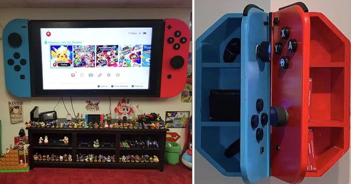 Transform Your Tv Into A Giant Nintendo Switch With This Wall Mounted Cabinet Nintendo Room Game Room Decor Game Room Design