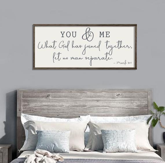 Wedding Gift You Me Wood Sign Bedroom Wall Decor Scripture Wall Art Mark 10 9 A Master Bedroom Wall Decor Guest Room Decor Farmhouse Bedroom Decor
