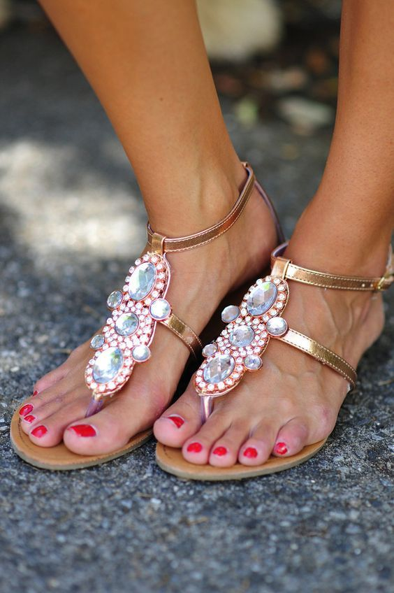 Fit For A Queen Sandals: Rose Gold