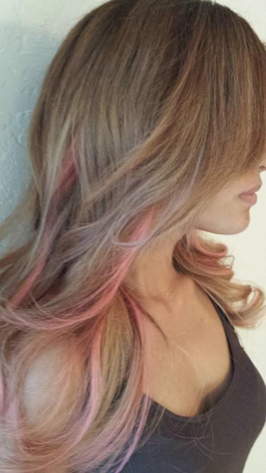 With Pink Peek A Boos Hair Hair Pink Hair Peekaboo Hair
