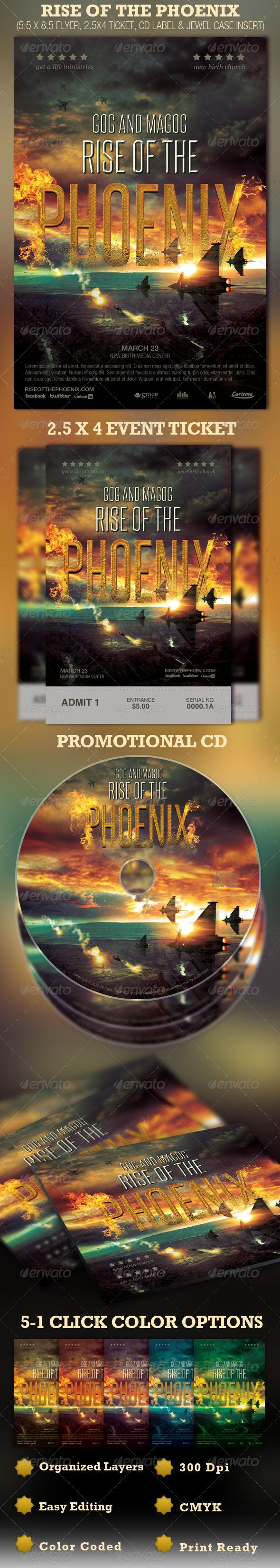 Rise of the Phoenix Flyer, Ticket and CD Template — Photoshop PSD #flyer designs #cd template • Available here → https://graphicriver.net/item/rise-of-the-phoenix-flyer-ticket-and-cd-template/1708448?ref=pxcr