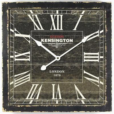 square mdf wall clock in distressed black wooden frame