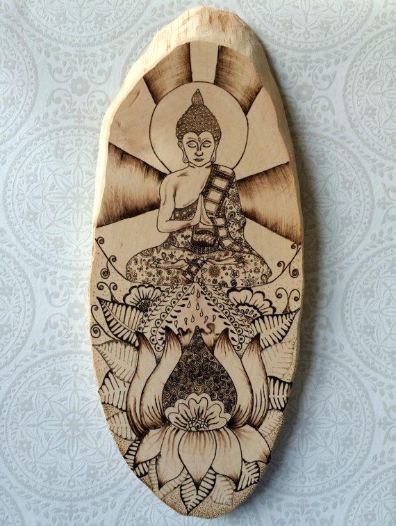 Praying Buddha and lotus flower wood burned by TimberleePyrography