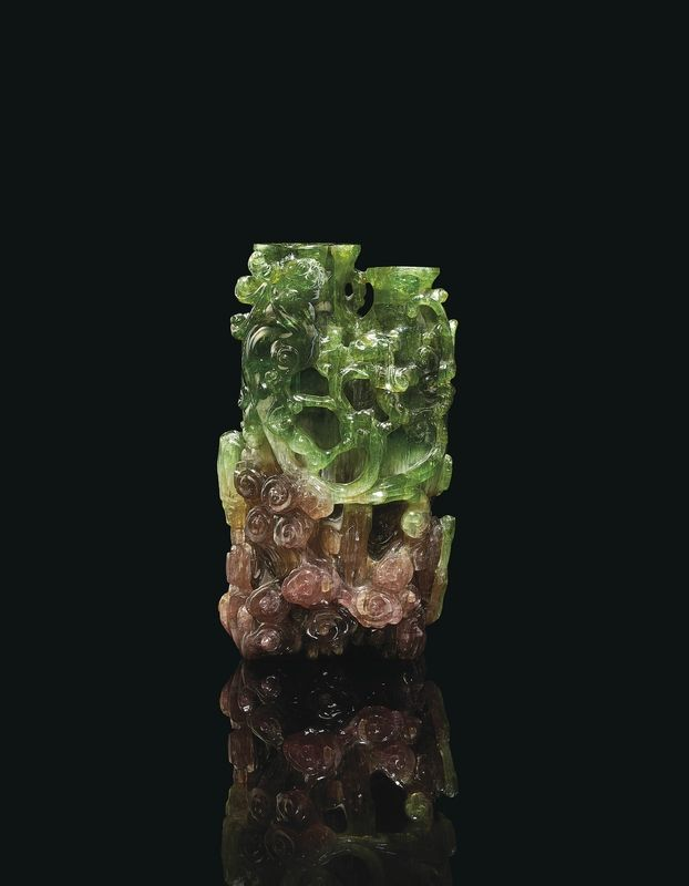 A Watermelon Tourmaline Conjoined 'Dragon' Vase, 18th century, 5 in. (12.7 cm) high © Littleton & Hennessy Asian Art