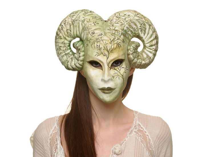 http://www.miofidelio.com/sito/en__p__47__aries.html Aries Aries is synonymous with seduction and provocation. So why not wear this mask on the hottest occasions, in public or in private?  The masks designed for mio Fidelio are made of papier mâché ??with the traditional technique of negative plaster mold decorated freehand with natural pigments.  The new processing techniques make these papier mâché masks very strong, elastic and adaptable.