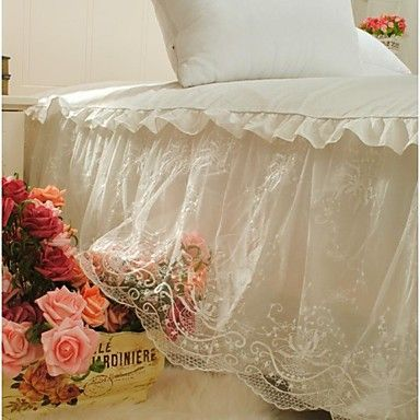 FADFAY@2014 New White Lace Embroidery Bed Skirt Korean Lace Ruffles Wedding Bed Skirt Fancy Bed Skirts Queen – USD $ 89.99