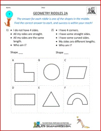 Geometry Riddles 2A, 2nd grade geometry riddles