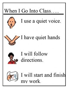 Free Printables for teaching the difference between Classroom and Hallway behavior.  Simple language for use with students who have special needs.
