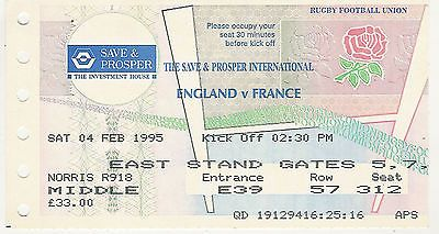 England v #france 4 feb 1995 rugby ticket grand slam #season for #england,  View more on the LINK: http://www.zeppy.io/product/gb/2/301979499781/
