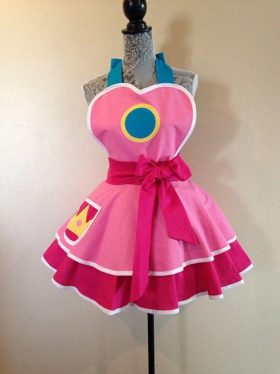 Princess Peach  Retro Apron  Pink apron  Mario  by AriaApparel