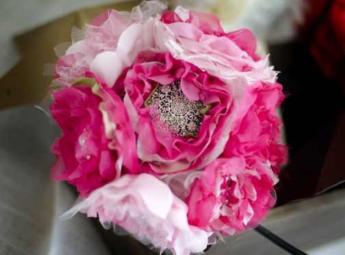 Pink Fabric & Brooch Bouquet by Handcrafted Whimsy, Home Accents