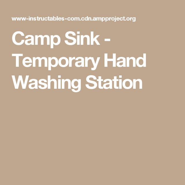 Camp Sink - Temporary Hand Washing Station
