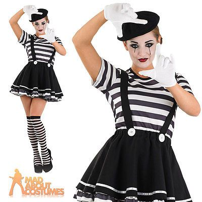 Adult Mime Artist Costume Ladies Sexy French Circus Fancy Dress Outfit New