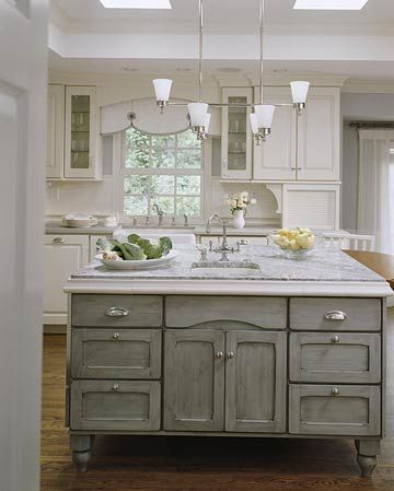 BHG island different color than other cabinets.Cabinets Colors, Grey Islands, Gray Kitchen Island, Grey Kitchens, Kitchens Islands, Kitchen Islands, Granite Countertops, Gray Islands, White Kitchens