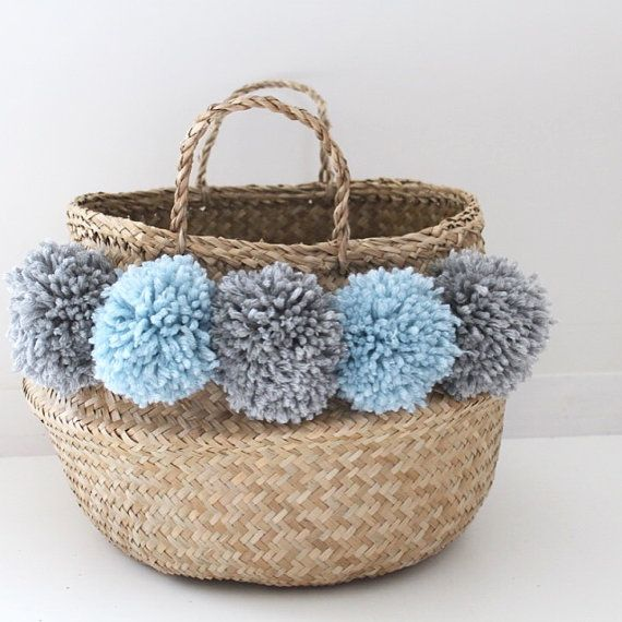 Large Thai basket with PomPoms sky blue and silver color