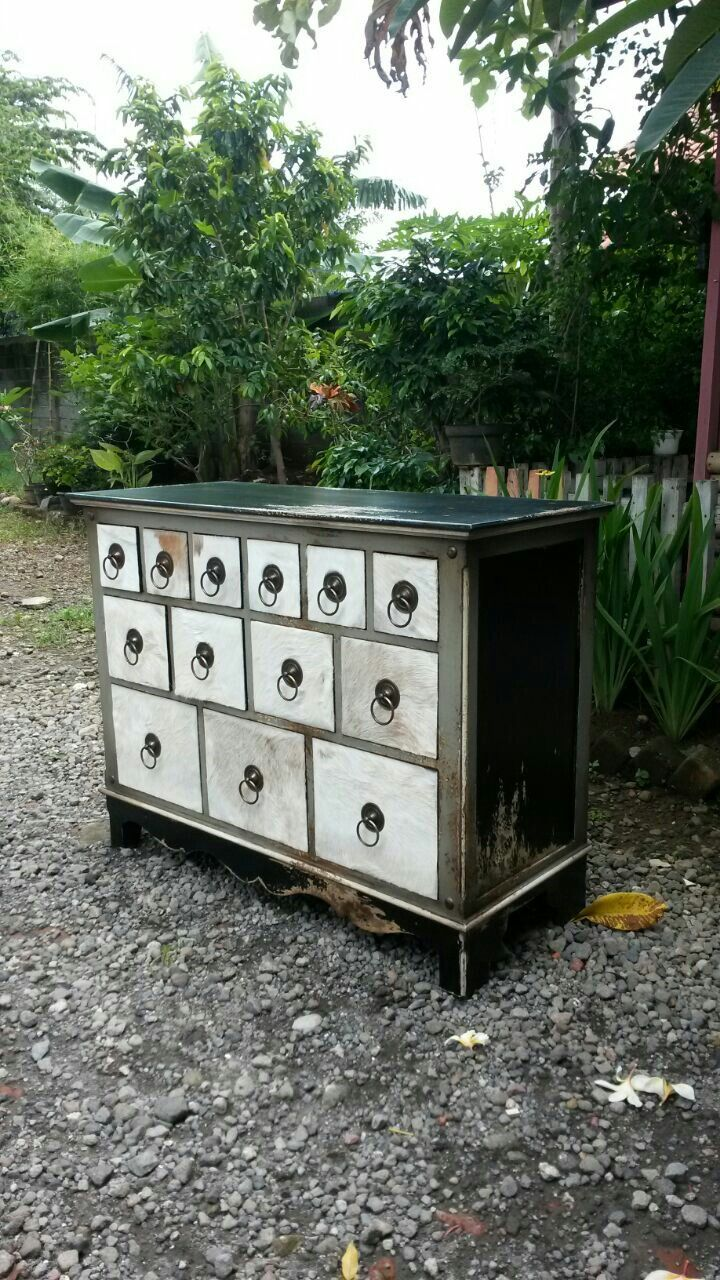 black gray thirteen drawers , drawers covered with goat skin genuine
