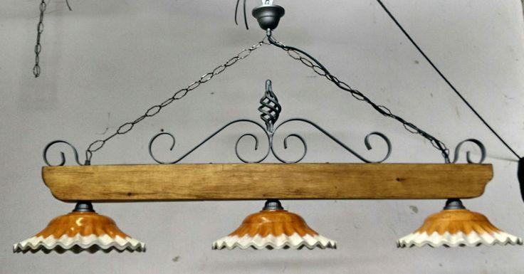 Lampadario rustico in ferro battuto e legno mod. Bilanciere 3 luci E27 grigio e