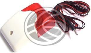 Sirena de pequeñas dimensiones para conexión a central de alarmas como sirena principal o secundaria. Además de la señal sonora emite destellos luminosos de color rojo (150 destellos por minuto). La intensidad sonora es de 110 dB a 30 cm de distancia. De tamaño 12 x 74 x 46 mm. Se fija con tornillería sobre una pared plana (tornillería de fijación incluida). Dispone de cable terminado en conector minijack de 3.5 de 2-pin. Se alimenta de la propia central de alarma cuando esta le suministra…