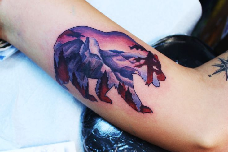 Yosemite element to bear. Tattoo by Jayme Goodwin at Pretty in Ink
