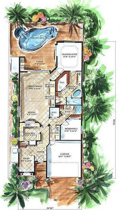 Cute, small Mediterranean house plan designed for a narrow lot. Great retirement or empty-nester home under 2000 sq. ft. of living space. High ceilings gi...