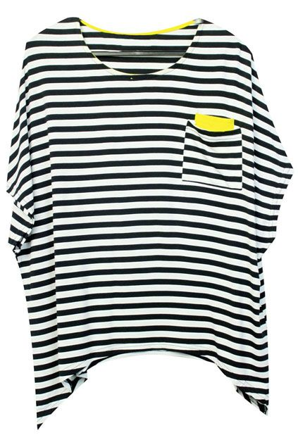 Striped Batwing Sleeves Black-white T-shirt