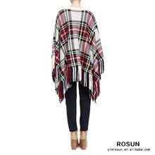 Women Bateau neckline Long cape sleeves Plaid Jacquard Fringe Poncho  Best Seller follow this link http://shopingayo.space