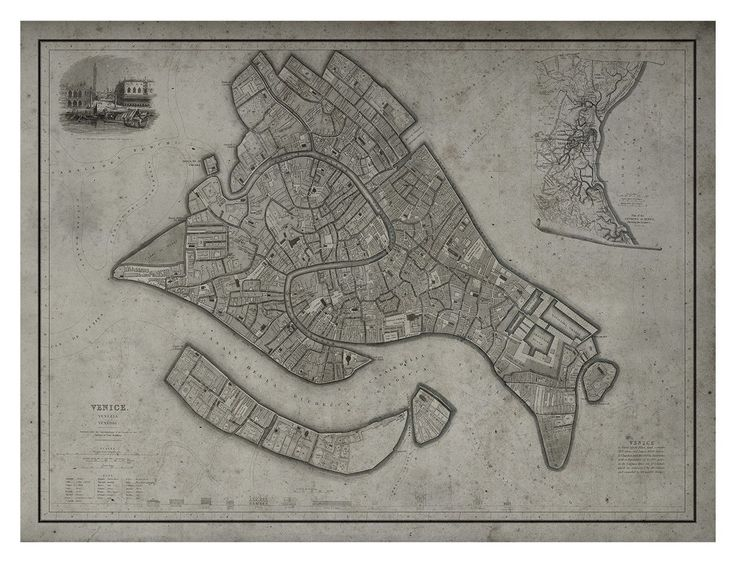 Venice Map : Vintage Map of Venice, Italy - Circa 19th C.