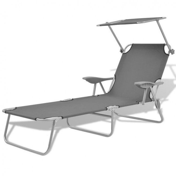 2 Sun Loungers Folding Canopy Chair Outdoor Seat Furniture Portable Grey Pool