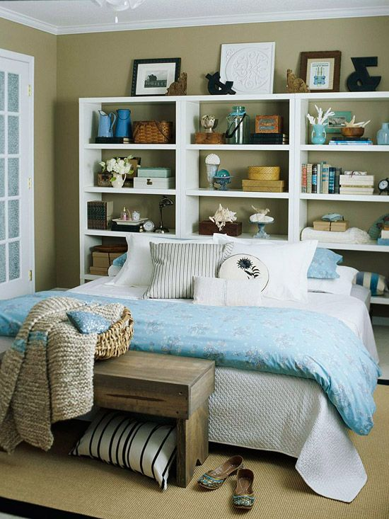 Small Bedroom Solutions-  Storage-Packed Headboards      Space Saver: Eliminate the need for extra furniture by putting the walls to work.        Built-ins above and next to the bed are great for small spaces. Store books and alarm clocks on shelves without taking up precious floor space. These displays also create instant artwork.