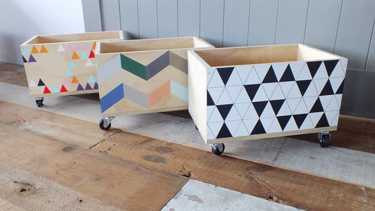 DIY painted wooden storage box inspiration