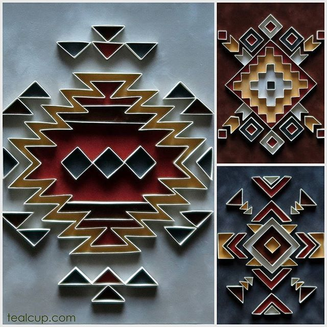 "Tribe series 11""x14"" (6""x8"" actual area), (1/4)"" strips cut from cardstock with papercut velvet paper backing, set of 3.  #tealcup #quilling#paperquilling#quilled #quilledpaperart #quillingart #paper #paperart #papercraft #paperdecor #paperartist #handmade #ooak"