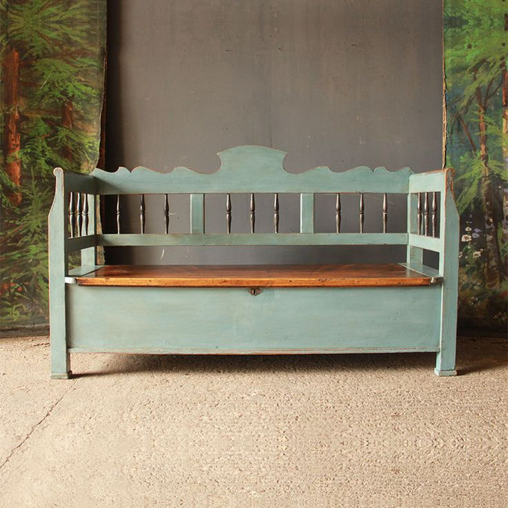 Smart Antique Pine Box Settle in Swedish Blue
