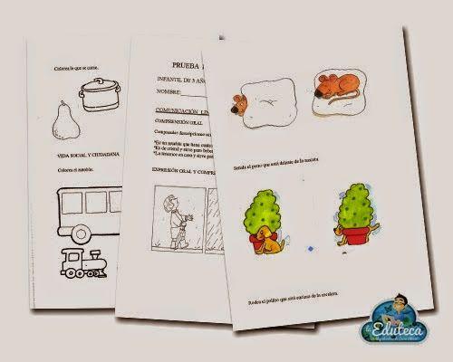 Pruebas de Evaluación Inicial para Educación Infantil de 4 años en Comunicación Lingüística, Matemáticas y Conocimiento del entorno, elaboradas por laeduteca.blogspot.com.es.