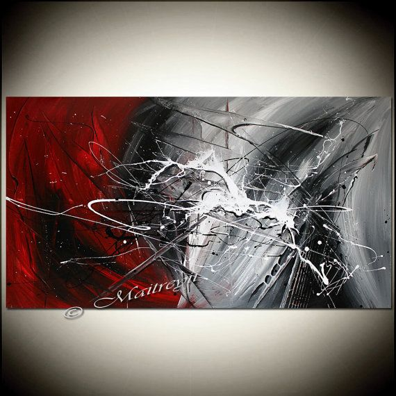 RED White Painting Original Artwork ABSTRACT art Modern Artwork Original Minimalist Textured canvas large artwork More paintings available here: