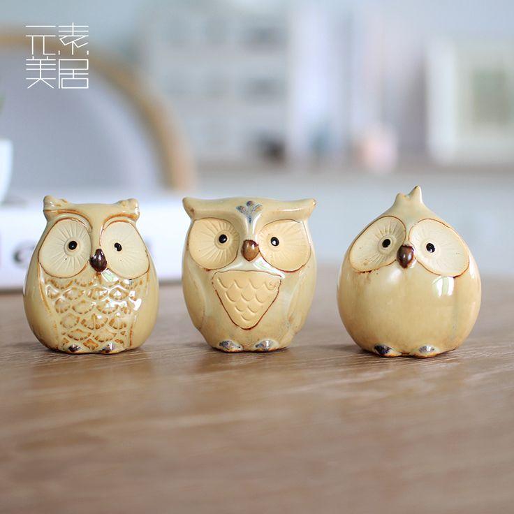 Familia amarilla del buho coruja ceramica Owl figurines decoración del hogar de cerámica artesanías artesanías de decoración de la habitación porcelana animales estatuilla(China (Mainland))
